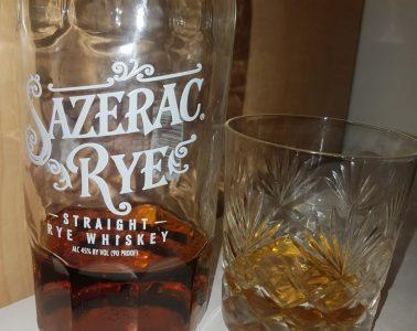A bottle and glass of Sazerac Rye