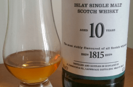 A bottle and glass of Laphroaig 10