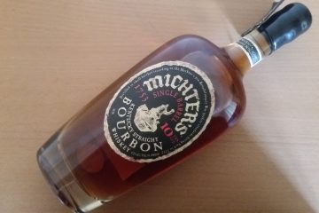 A bottle of Michters 10 bourbon