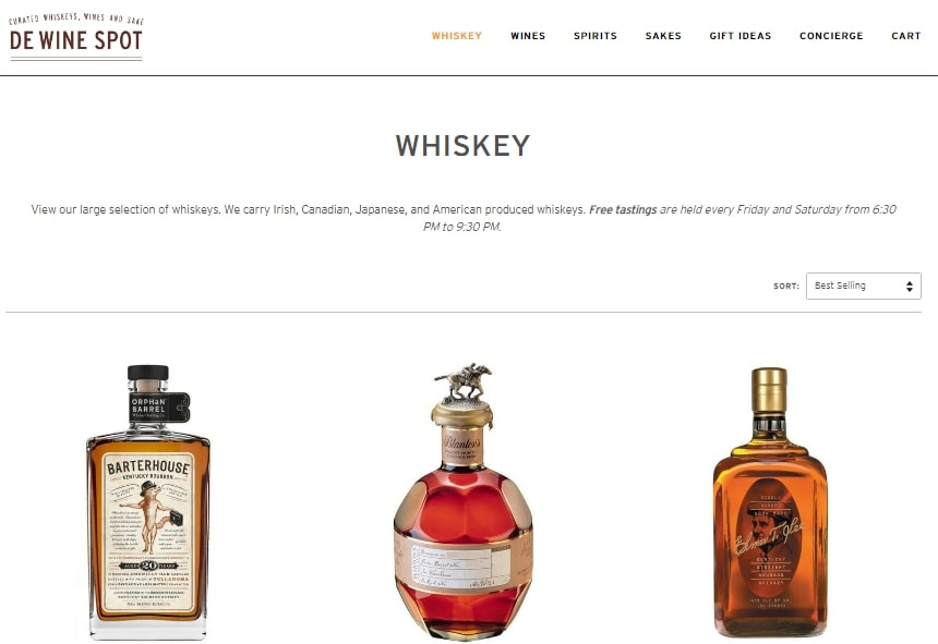 The whiskey page of the De Wine Spot website