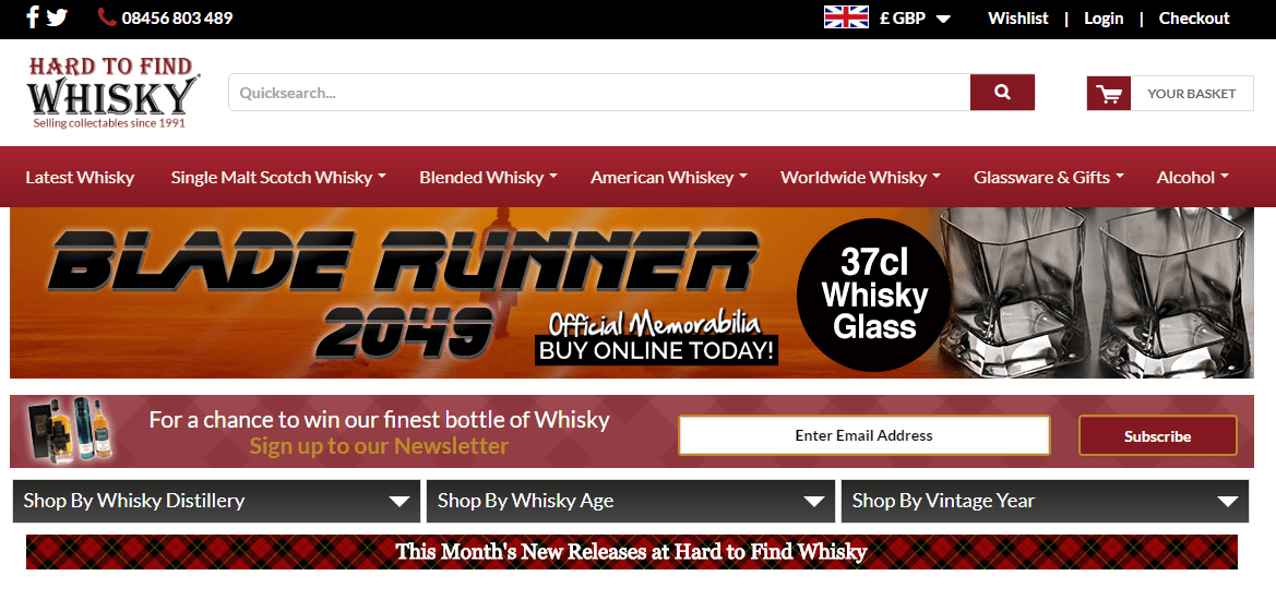 A screenshot of the Hard To Find Whisky website