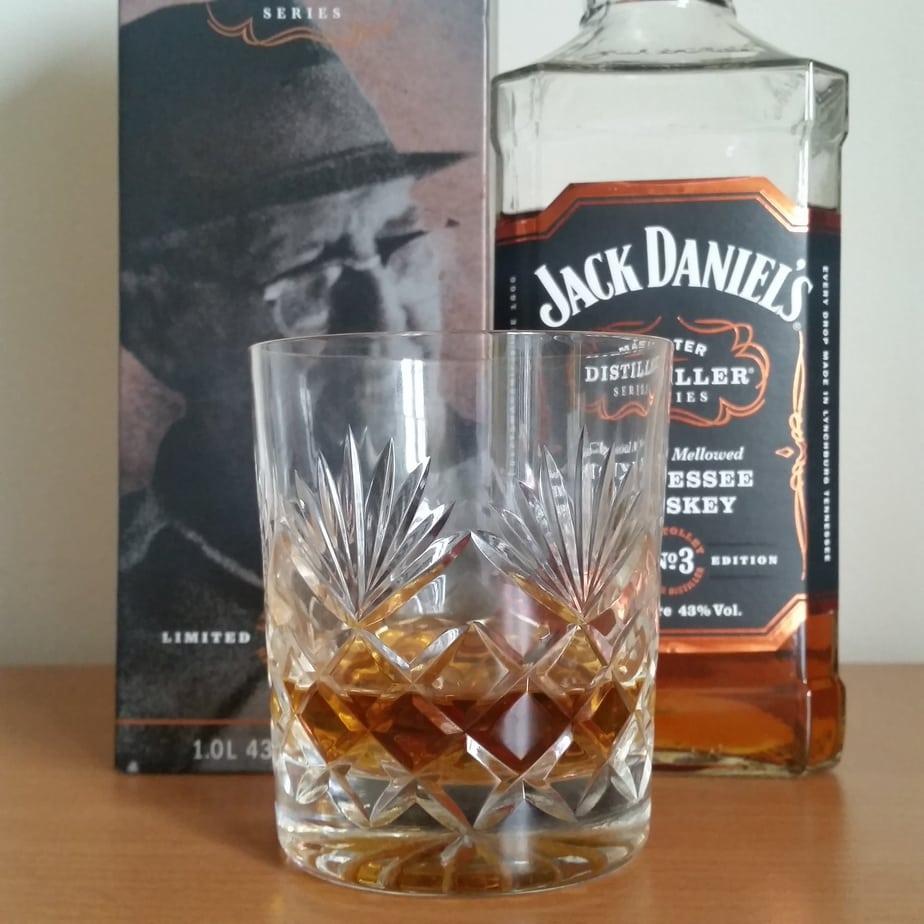 Jack Daniels Master distillers No.3 bottle and glass
