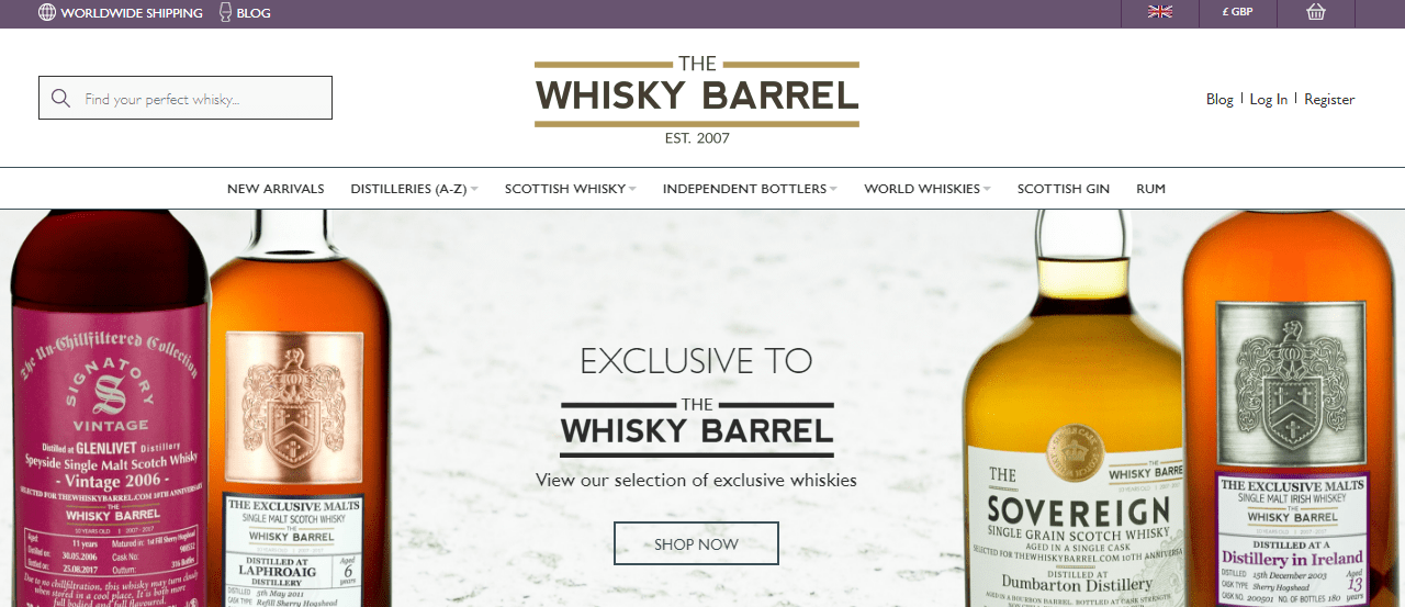 A screenshot of the The Whisky Barrel website