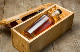 A bottle of whisky in a gift box