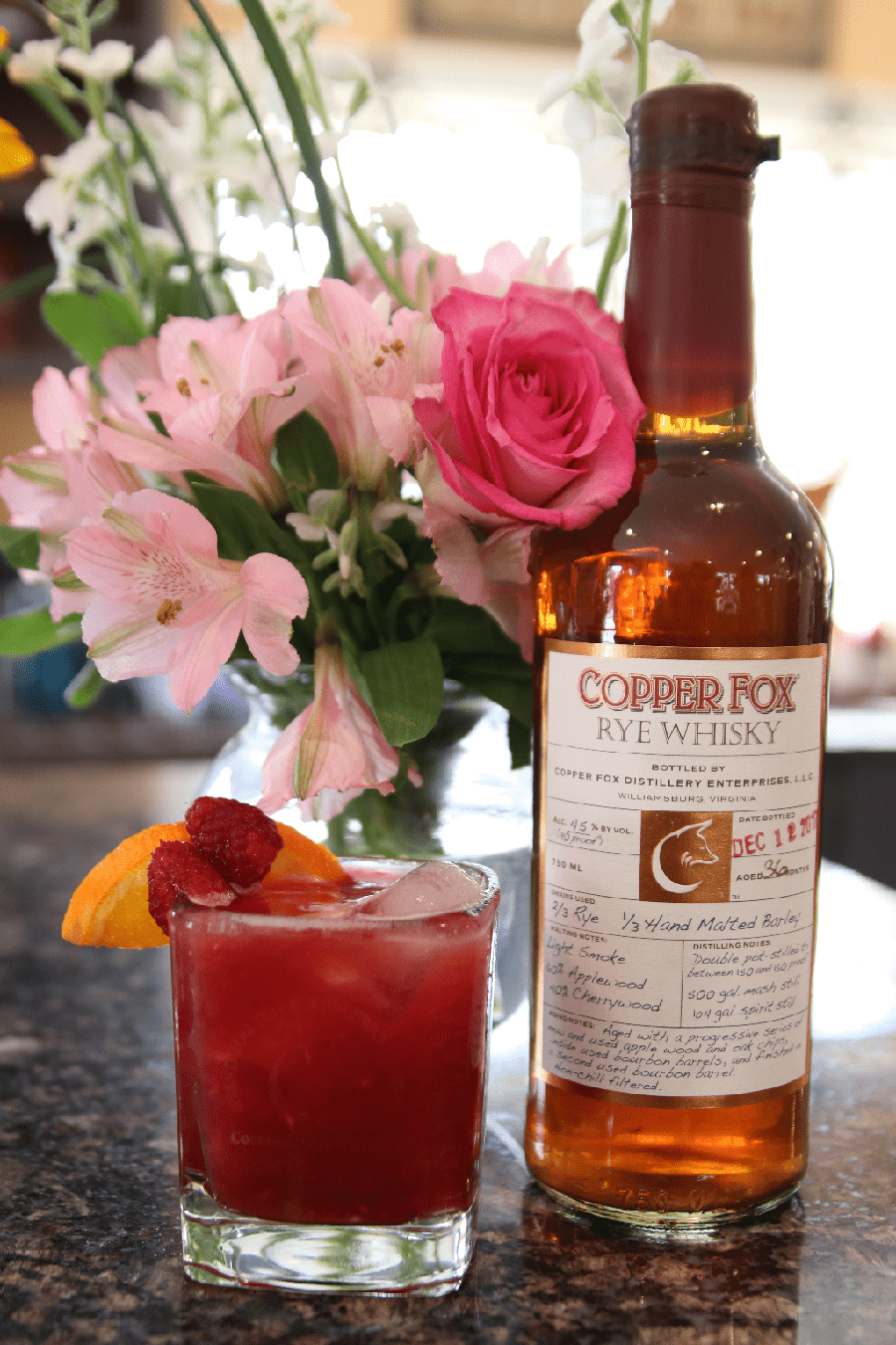 A bottle of Copper Fox Rye Whiskey