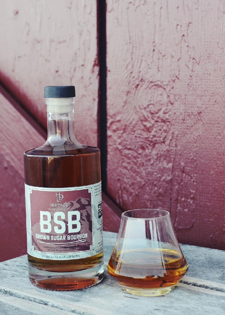 A bottle of Heritage Brown Sugar Whiskey