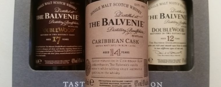 A miniature bottle of balvenie 14 Caribbean Cask