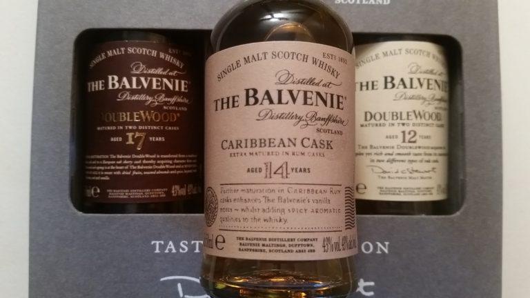 A miniature bottle of balvenie 14 Caribbean Cask