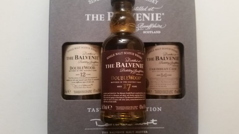 A miniature bottle of The Balvenie Doublewood 17