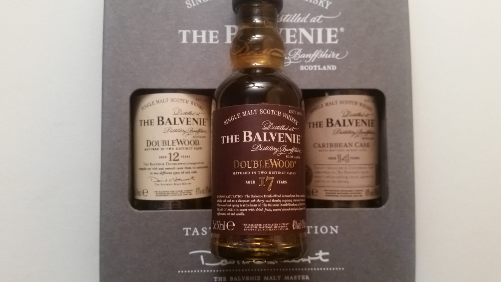 A miniature bottle of The Balvenie Doublewood 17