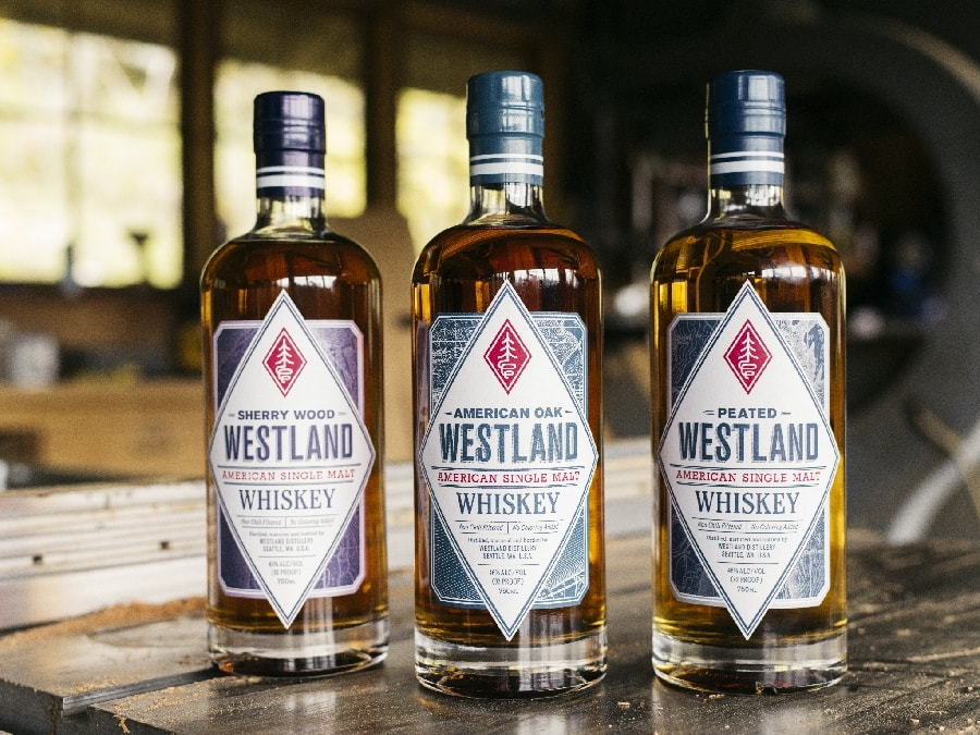 3 bottles of Westland whiskey