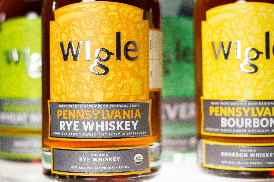 Bottles of whiskey from Wigle Distillery
