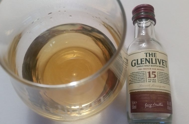 A small bottle of The Glenlivet 15 The French Oak Reserve