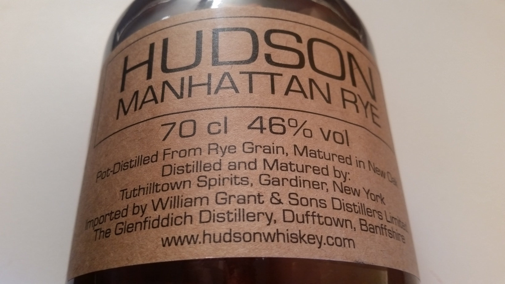 A close up of the Hudson Manhattan Rye label