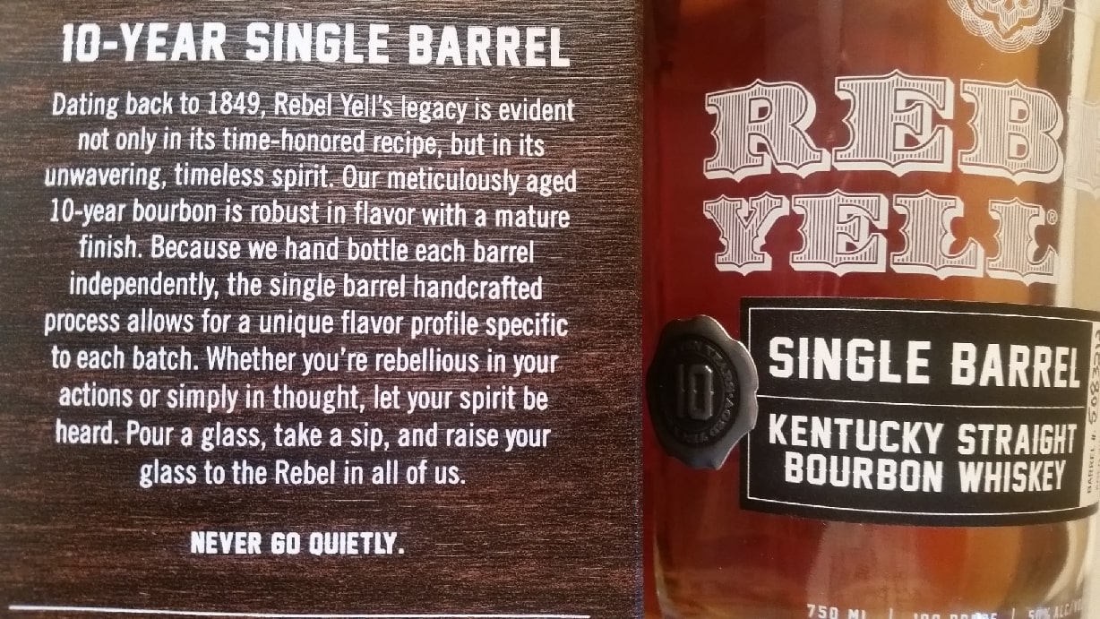 The Rebel Yell 10 box label