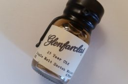A miniature bottle of Glenfarclas 25
