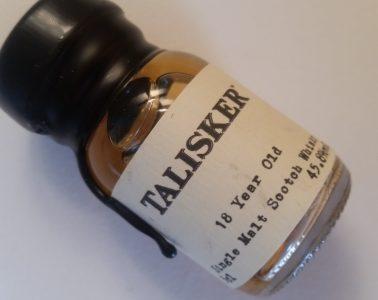 A miniature bottle of Talisker 18 year old