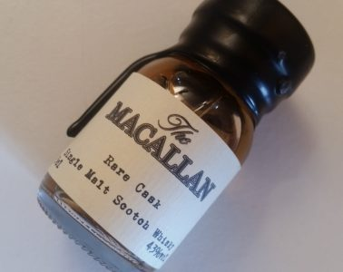 A miniature bottle of The Macallan Rare Cask