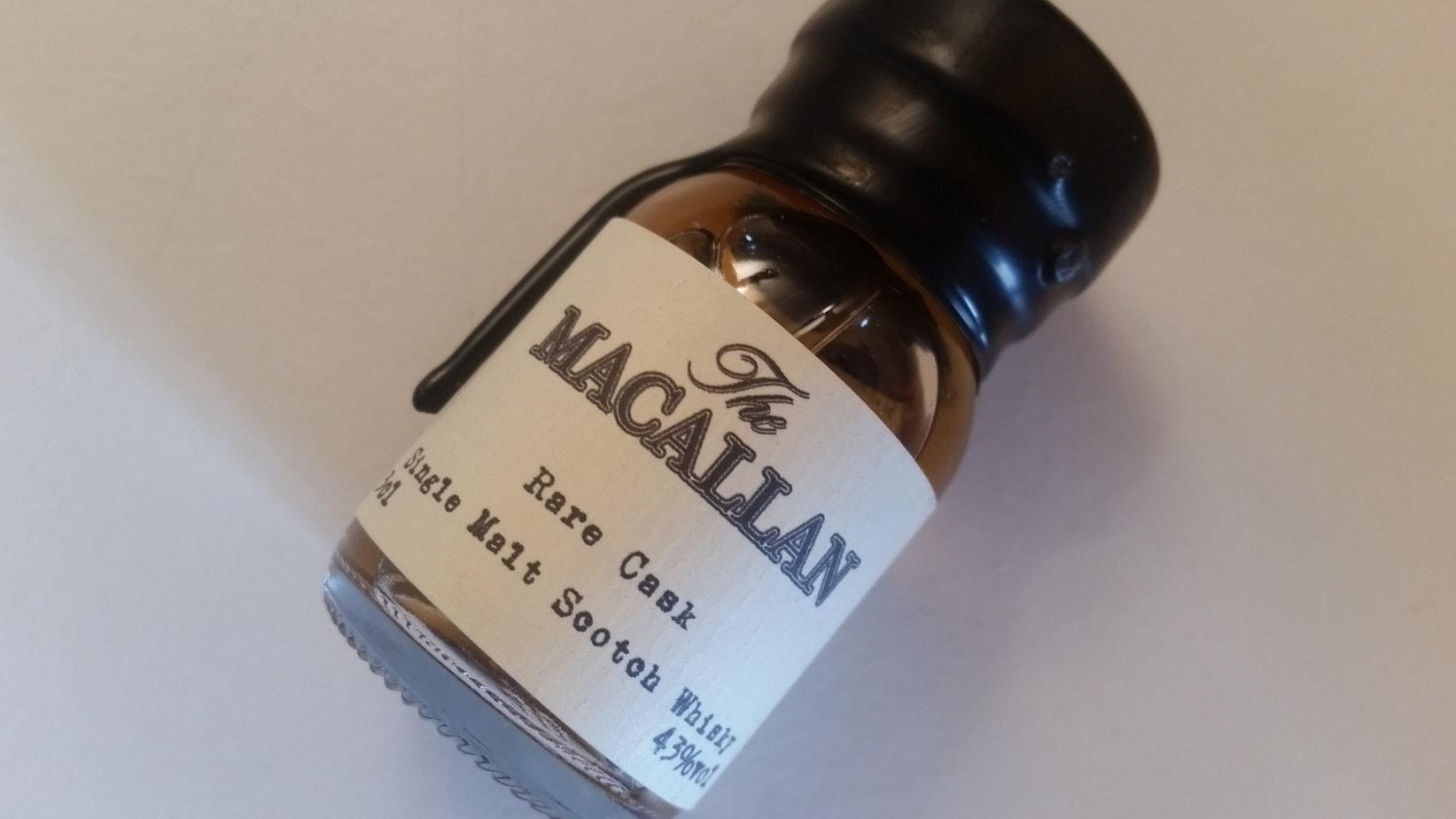A miniature bottle of The Macallan Rare Cask