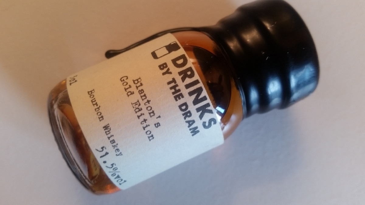 A sample bottle of Blantons Gold