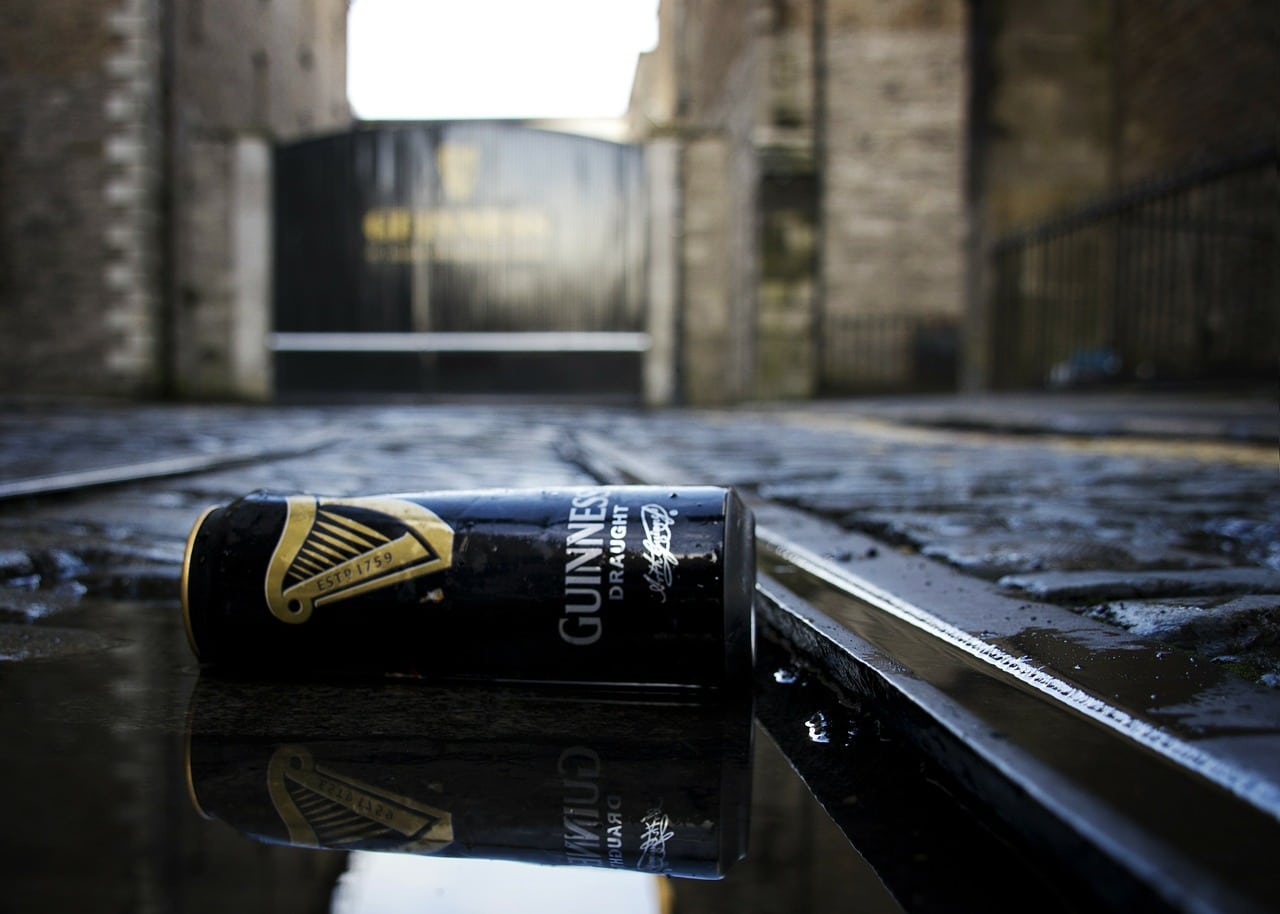 A can of Guinness in the street