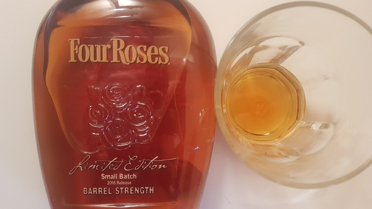 A bottle and glass of Four Roses Limited Edition Small Batch