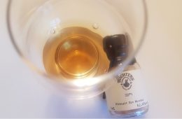 Michter's Straight Rye Whiskey glass and sample bottle