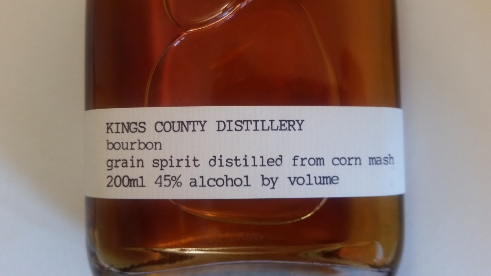The label on Kings County Distillery Bourbon