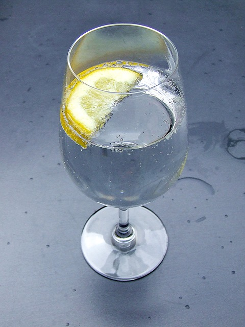 A glass of soda water