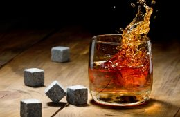 Stones in a glass of whiskey