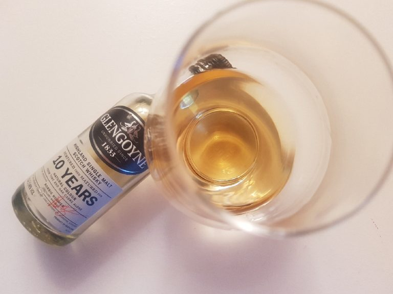A bottle and glass of Glengoyne 10