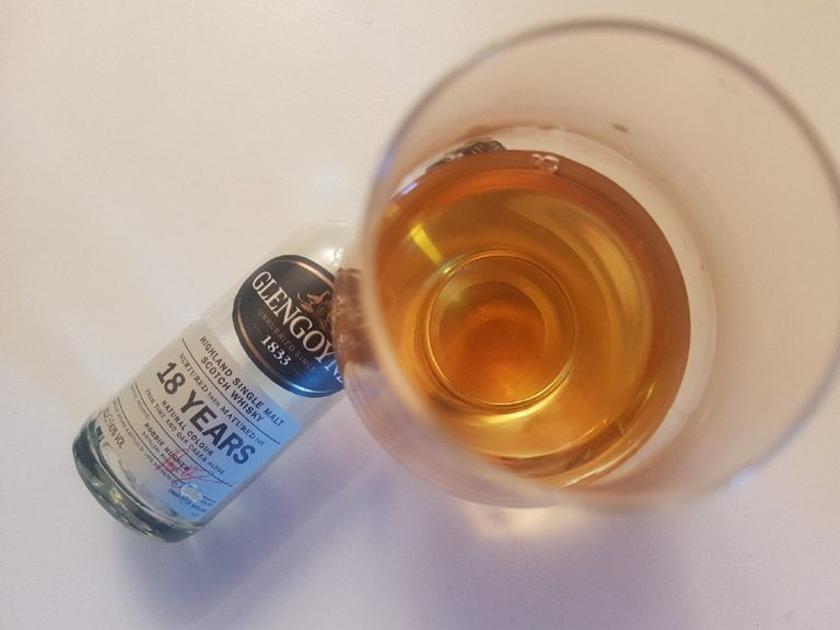 A bottle and glass of Glengoyne 18
