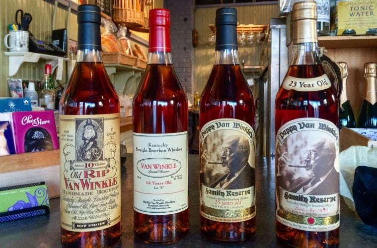 Four bottles of Pappy Van Winkle