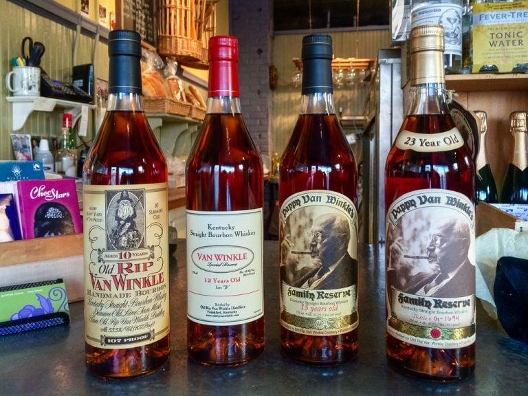 Four bottles of Pappy Van Winkle