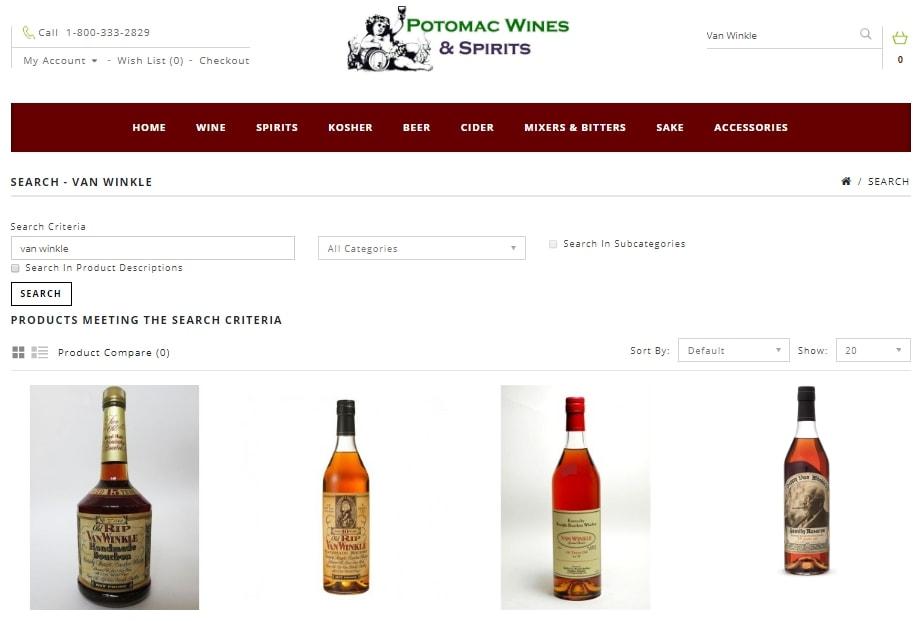 The Van Winkle page on Potomac Wines
