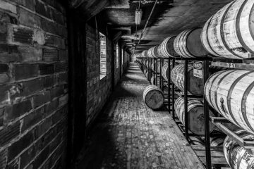 Whiskey barrels on shelves