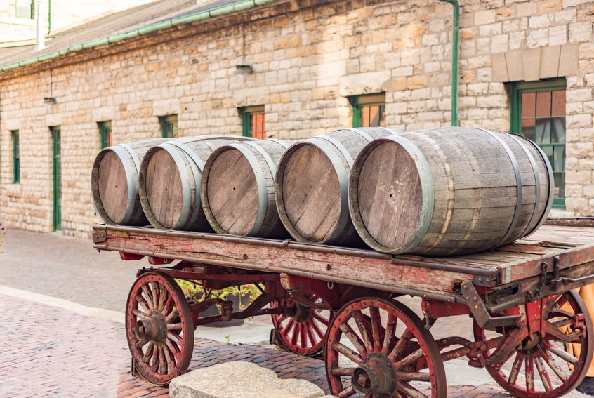Whiskey barrels on a cart during the whiskey rebellion
