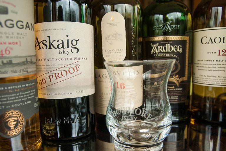 Several bottles of Islay Scotch whisky