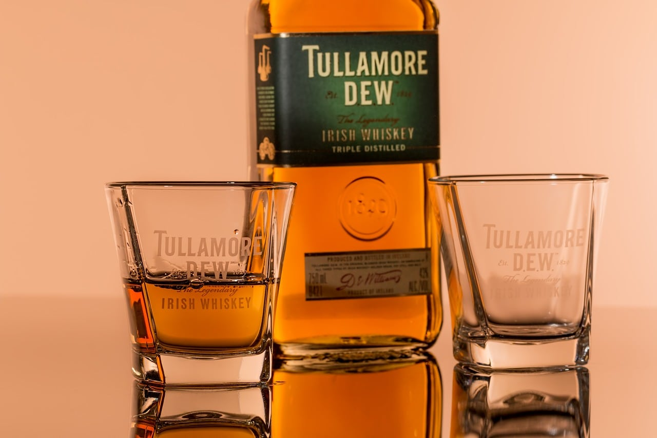 Tullamore Dew Irish whiskey bottle