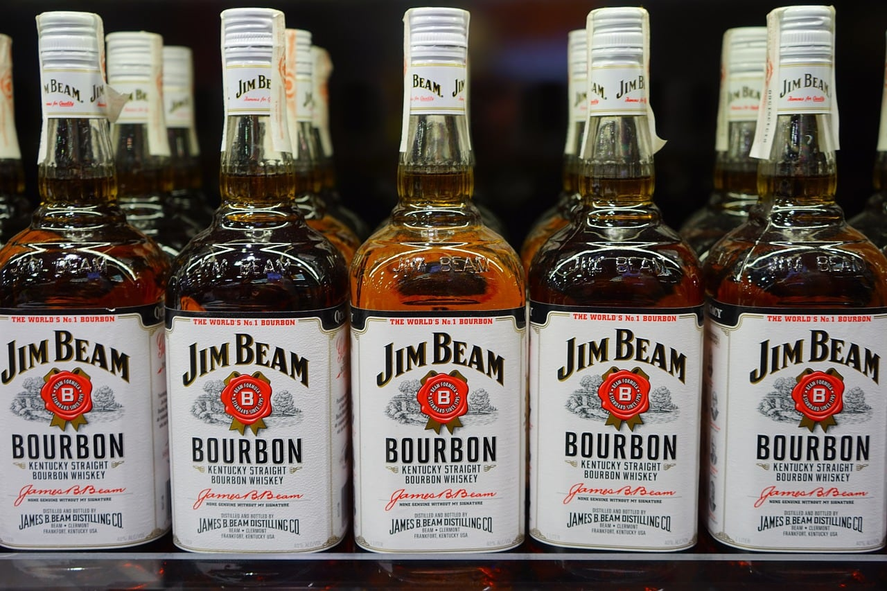 Bottles of Jim Beam bourbon