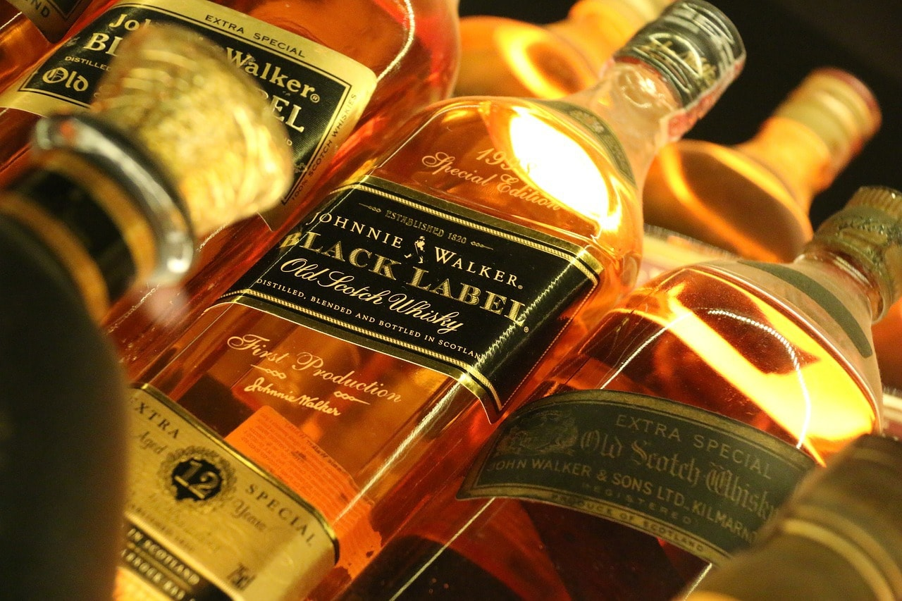 Bottles of Johnnie Walker whisky