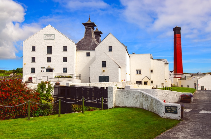 An outside shot of the Lagavulin whisky distillery in Scotland