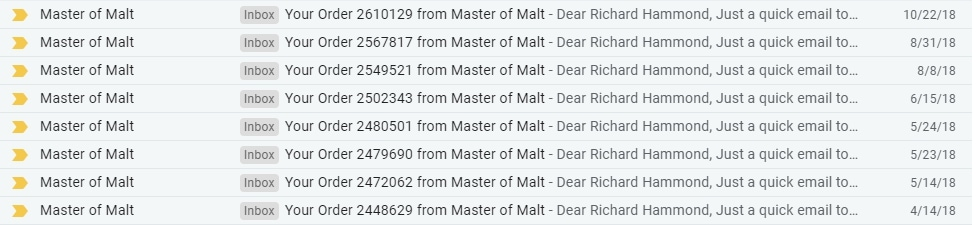 Emails showing Master of Malt order confirmations