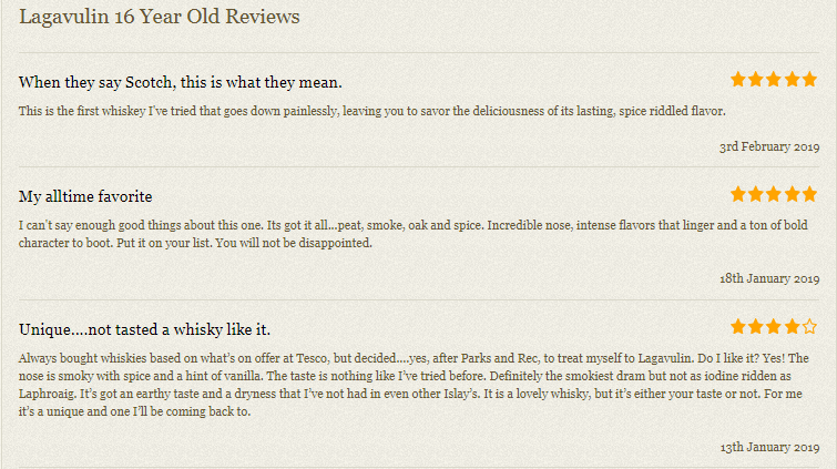 Customer reviews on a product page on Master of Malt