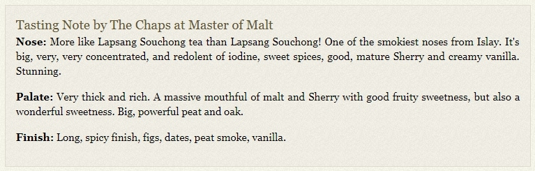 Tasting notes on a Master of Malt product page