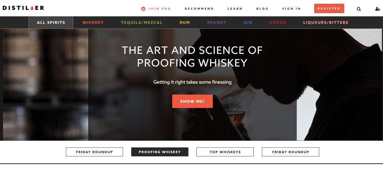 Distiller app home page