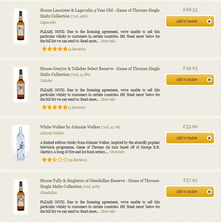 The selection of Game of Thrones whisky available on Master of Malt