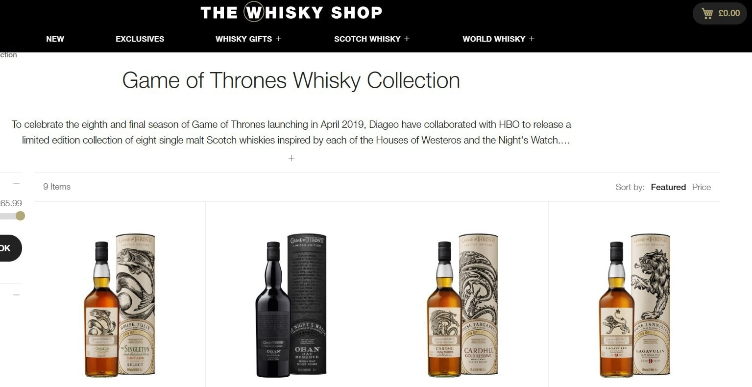 The Whisky Shop Game Of Thrones collection