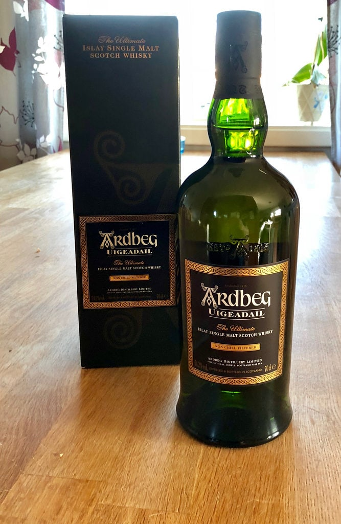 A bottle of Ardbeg Uidedail