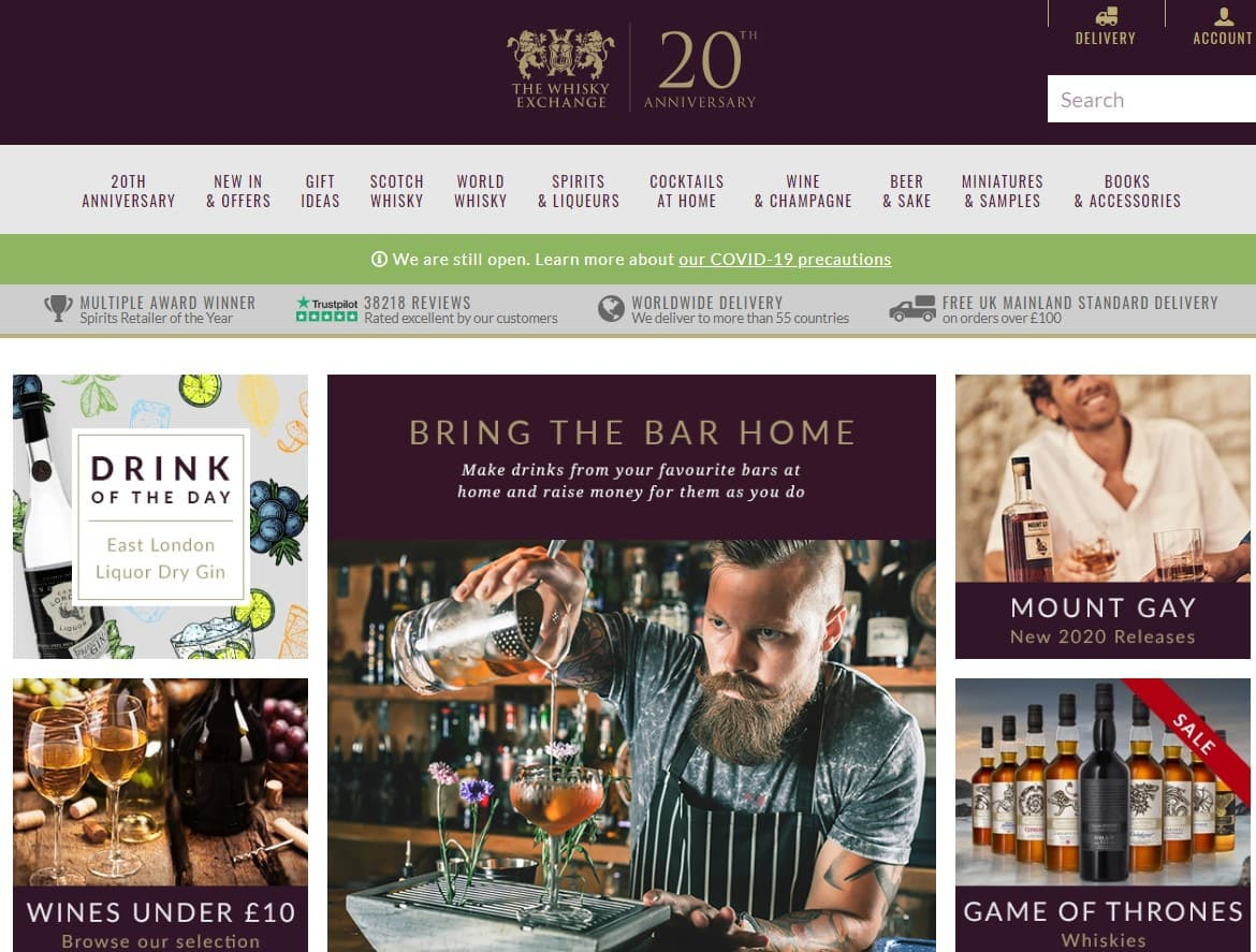 The Whisky Exchange website homepage